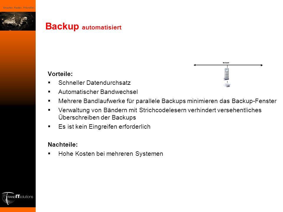 Smarter. Faster. Friendlier. Vorteile: Schneller Datendurchsatz Automatischer Bandwechsel Mehrere Bandlaufwerke für parallele Backups minimieren das B