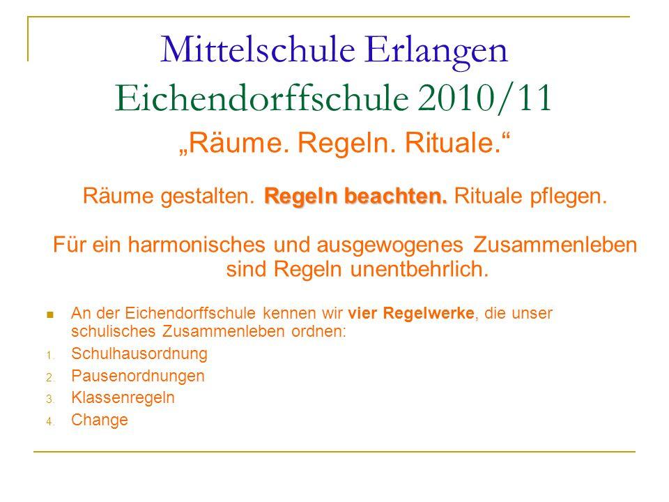 Mittelschule Erlangen Eichendorffschule 2010/11 Räume. Regeln. Rituale. Regeln beachten. Räume gestalten. Regeln beachten. Rituale pflegen. Für ein ha
