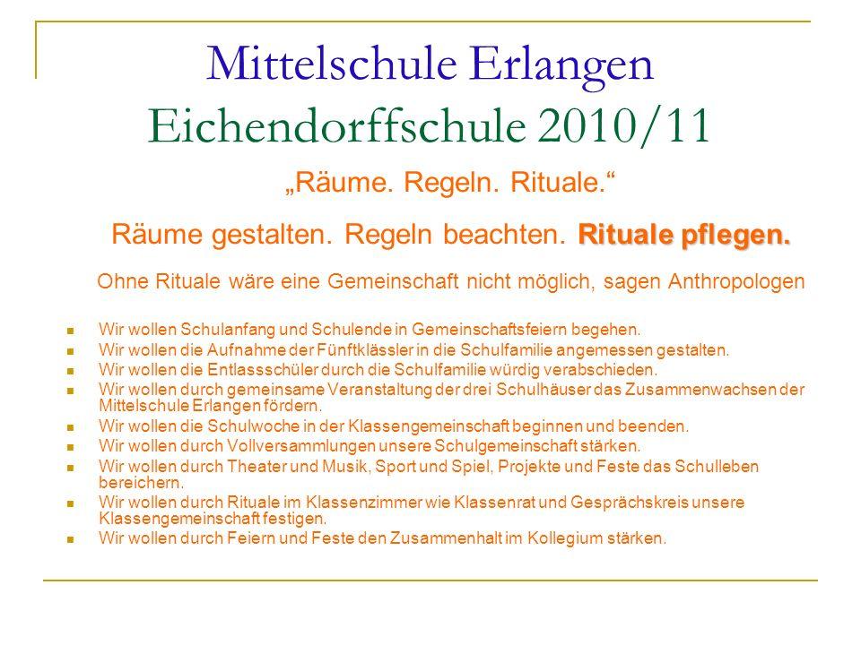 Mittelschule Erlangen Eichendorffschule 2010/11 Räume. Regeln. Rituale. Rituale pflegen. Räume gestalten. Regeln beachten. Rituale pflegen. Ohne Ritua