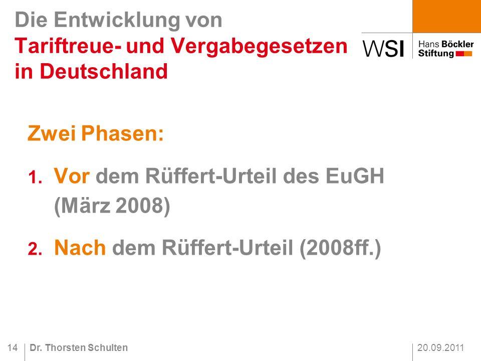20.09.2011Dr.Thorsten Schulten14 Zwei Phasen: 1. Vor dem Rüffert-Urteil des EuGH (März 2008) 2.