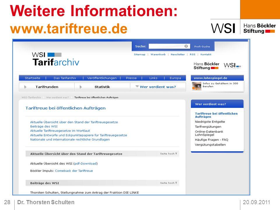 20.09.2011Dr. Thorsten Schulten28 Weitere Informationen: www.tariftreue.de