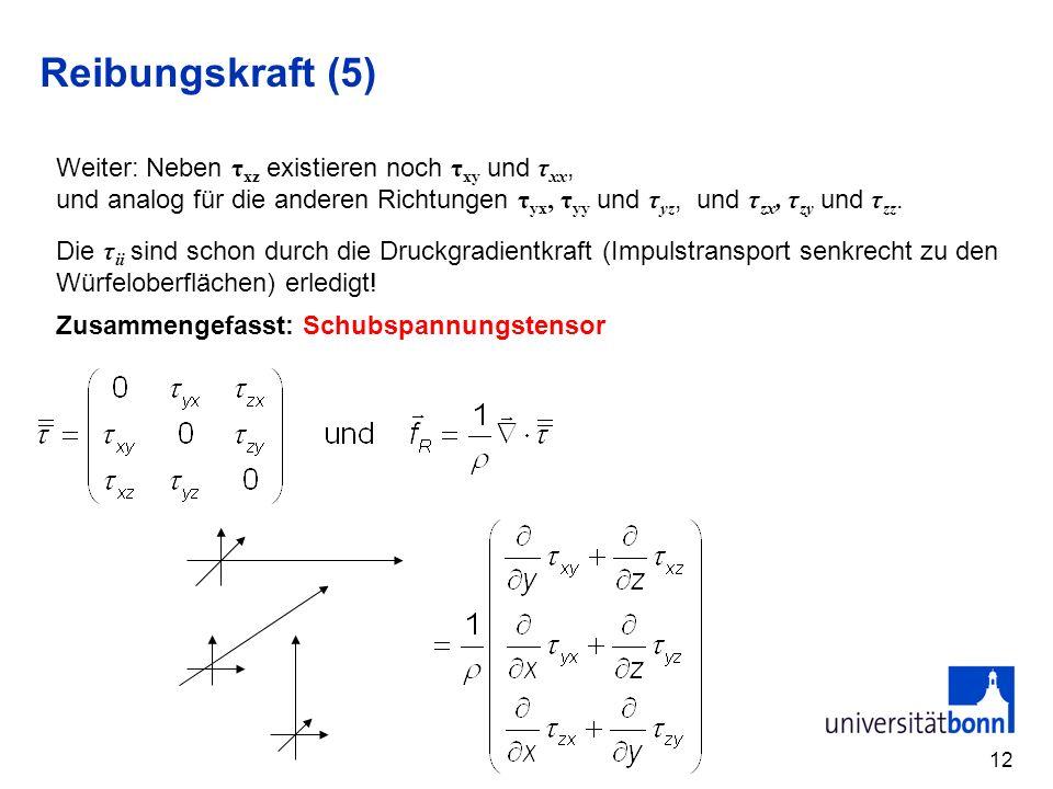12 Reibungskraft (5) Weiter: Neben τ xz existieren noch τ xy und τ xx, und analog für die anderen Richtungen τ yx, τ yy und τ yz, und τ zx, τ zy und τ zz.