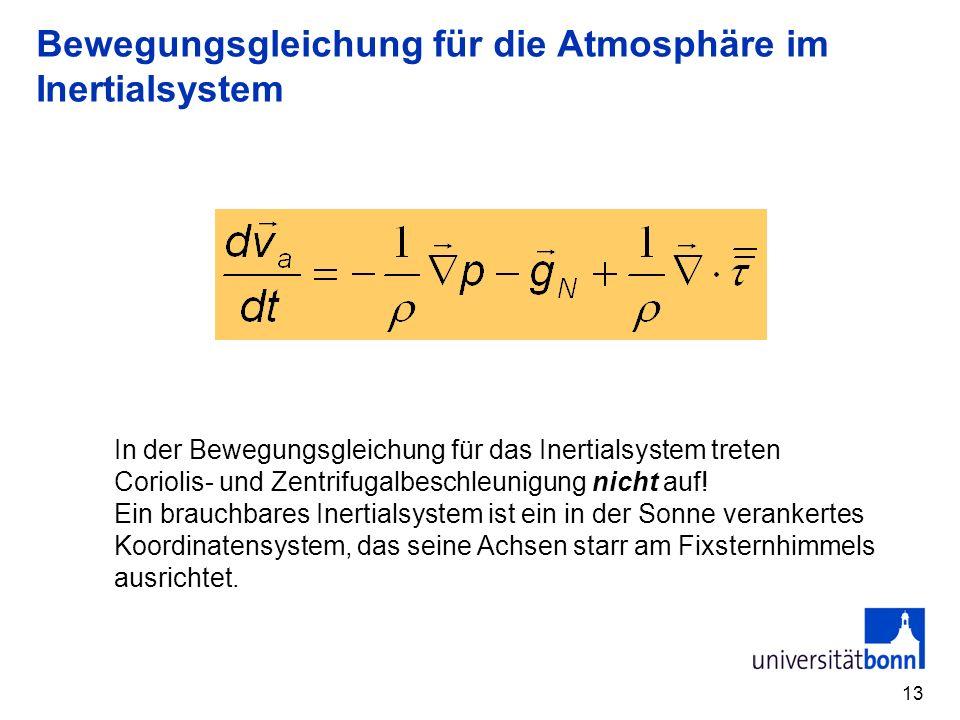 13 Bewegungsgleichung für die Atmosphäre im Inertialsystem In der Bewegungsgleichung für das Inertialsystem treten Coriolis- und Zentrifugalbeschleunigung nicht auf.