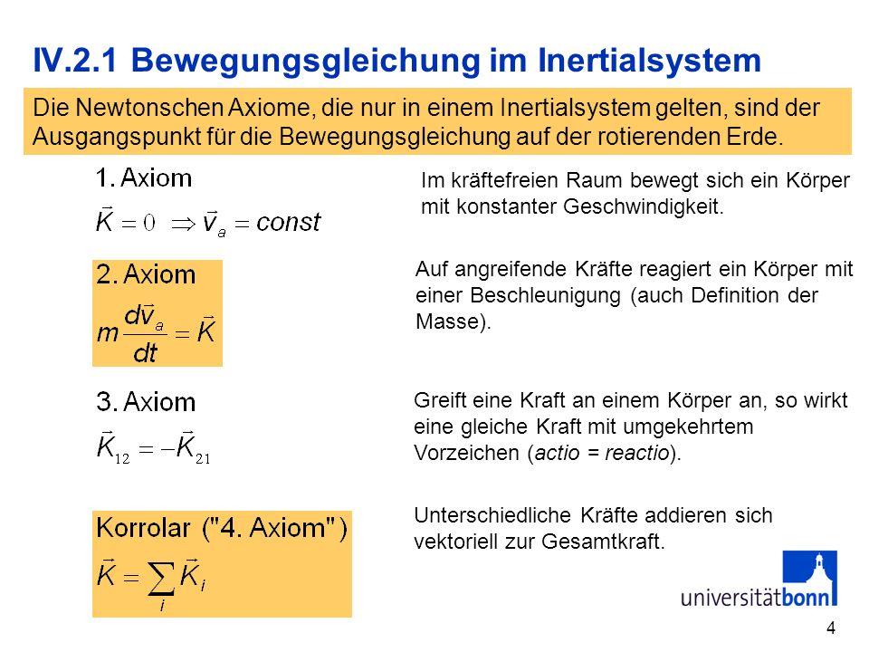 4 IV.2.1 Bewegungsgleichung im Inertialsystem Im kräftefreien Raum bewegt sich ein Körper mit konstanter Geschwindigkeit.