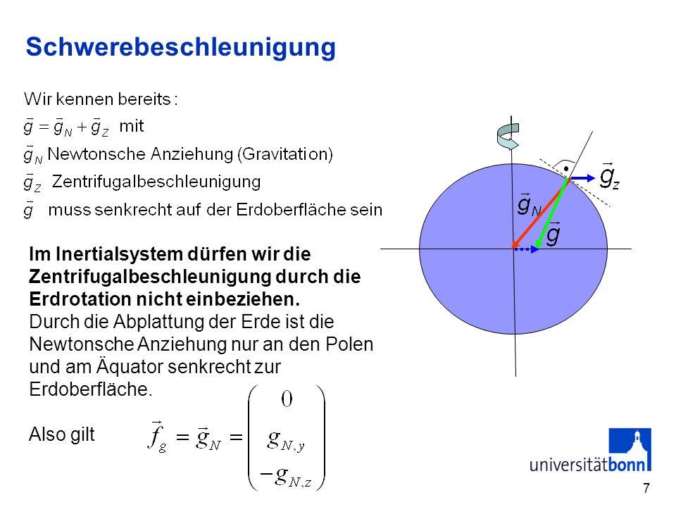 7 Schwerebeschleunigung Im Inertialsystem dürfen wir die Zentrifugalbeschleunigung durch die Erdrotation nicht einbeziehen.