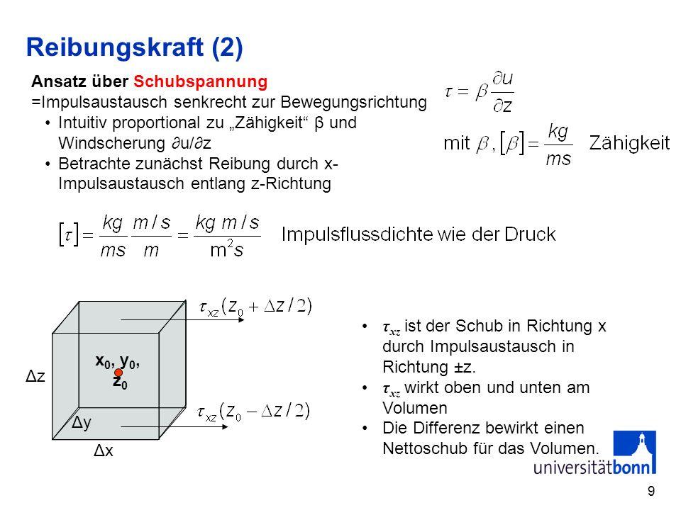 9 Reibungskraft (2) Ansatz über Schubspannung =Impulsaustausch senkrecht zur Bewegungsrichtung Intuitiv proportional zu Zähigkeit β und Windscherung u/z Betrachte zunächst Reibung durch x- Impulsaustausch entlang z-Richtung ΔxΔx ΔyΔy ΔzΔz x 0, y 0, z 0 τ xz ist der Schub in Richtung x durch Impulsaustausch in Richtung ±z.