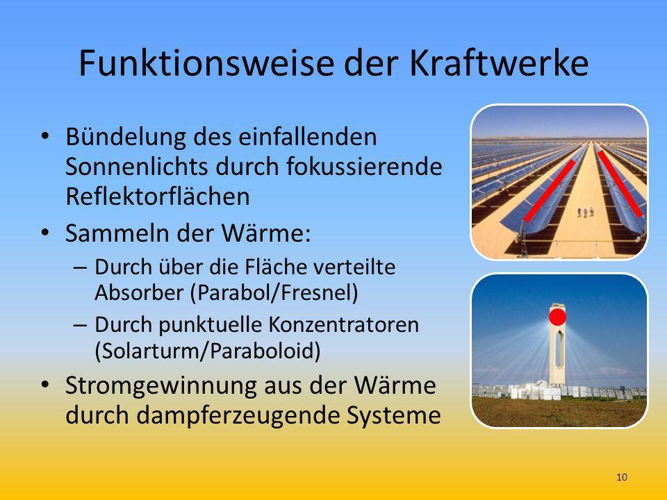 Funktionsweise der Kraftwerke Bündelung des einfallenden Sonnenlichts durch fokussierende Reflektorflächen Sammeln der Wärme: – Durch über die Fläche
