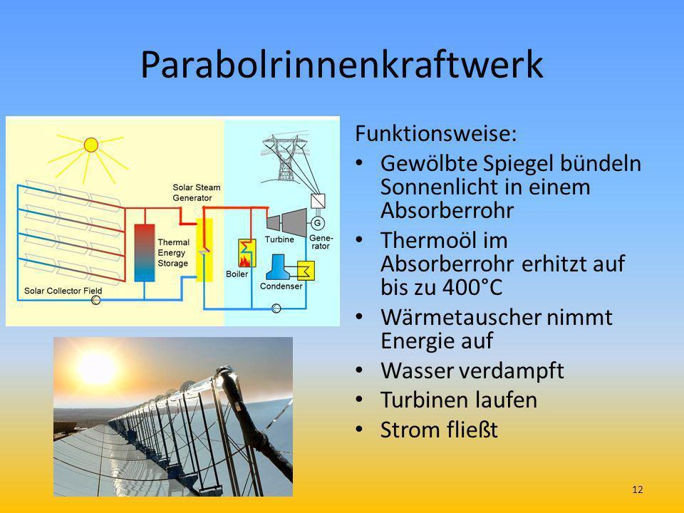 Parabolrinnenkraftwerk Funktionsweise: Gewölbte Spiegel bündeln Sonnenlicht in einem Absorberrohr Thermoöl im Absorberrohr erhitzt auf bis zu 400°C Wä
