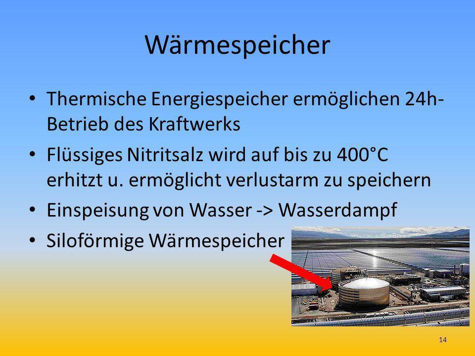 Wärmespeicher Thermische Energiespeicher ermöglichen 24h- Betrieb des Kraftwerks Flüssiges Nitritsalz wird auf bis zu 400°C erhitzt u. ermöglicht verl