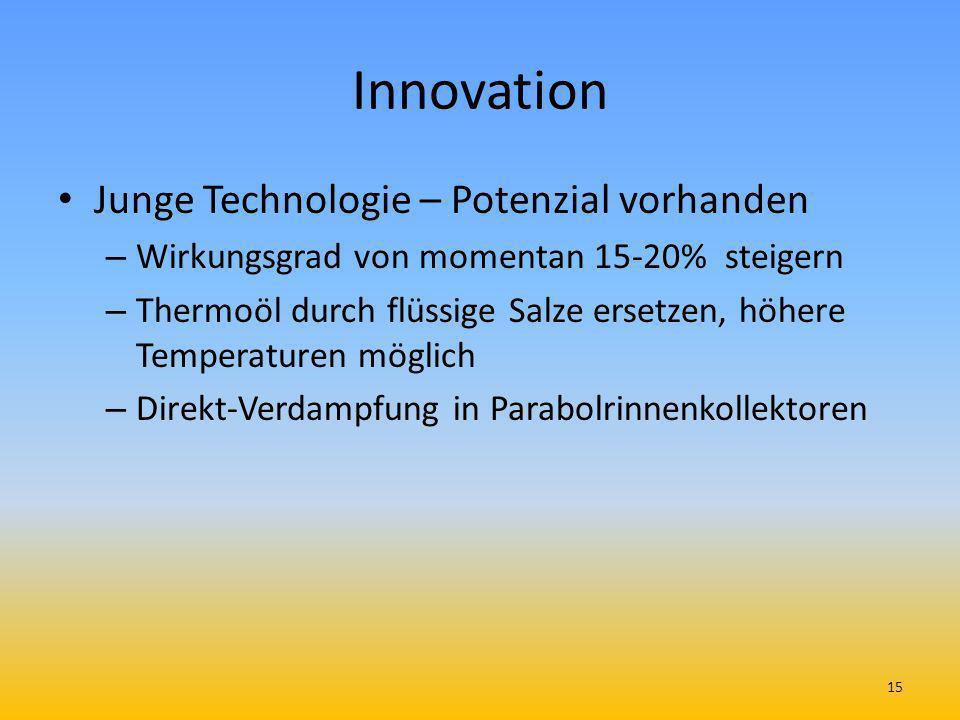 Innovation Junge Technologie – Potenzial vorhanden – Wirkungsgrad von momentan 15-20% steigern – Thermoöl durch flüssige Salze ersetzen, höhere Temper