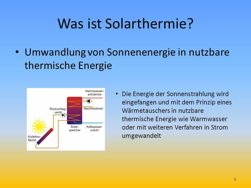 Was ist Solarthermie? Umwandlung von Sonnenenergie in nutzbare thermische Energie Die Energie der Sonnenstrahlung wird eingefangen und mit dem Prinzip