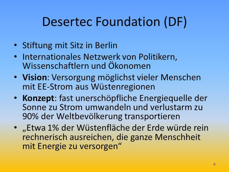 Desertec Foundation (DF) Stiftung mit Sitz in Berlin Internationales Netzwerk von Politikern, Wissenschaftlern und Ökonomen Vision: Versorgung möglich