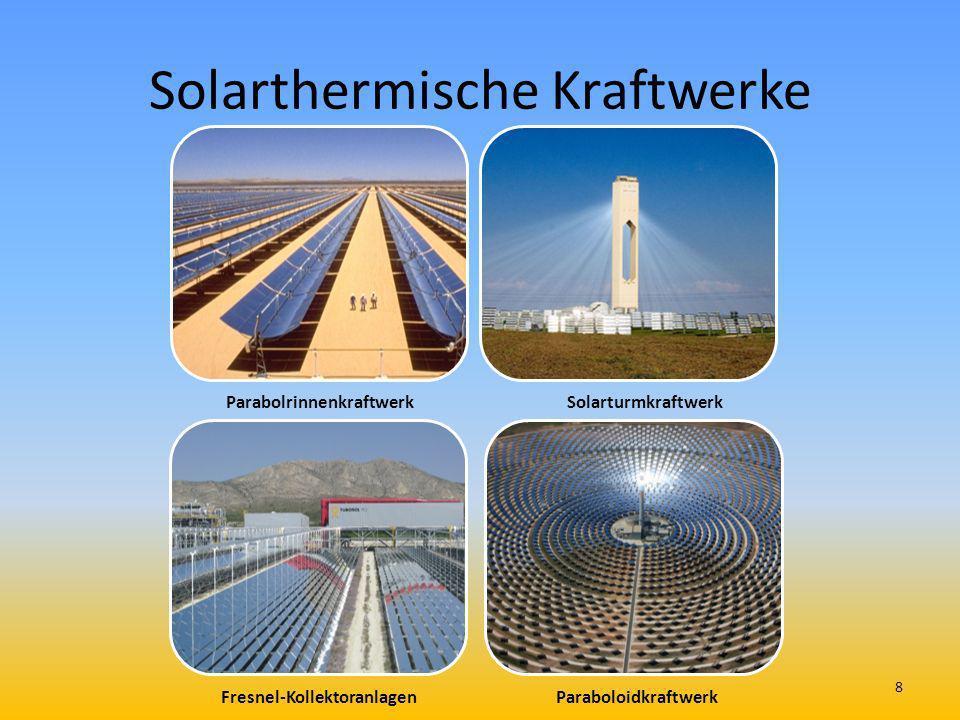 Solarthermische Kraftwerke ParabolrinnenkraftwerkSolarturmkraftwerk Fresnel-Kollektoranlagen Paraboloidkraftwerk 8