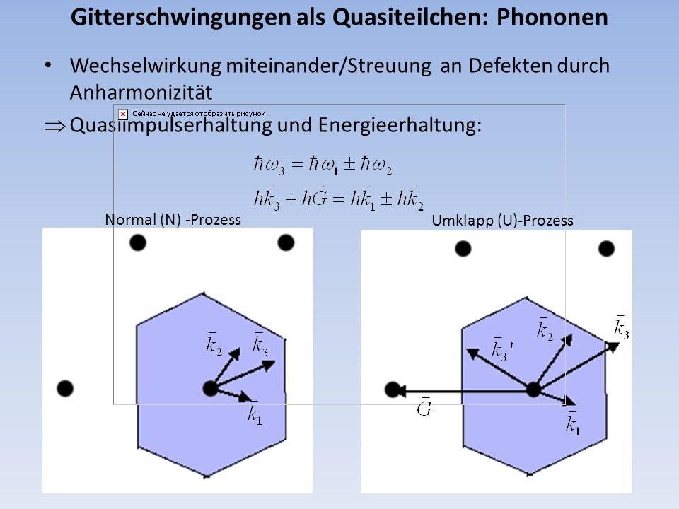 Gitterschwingungen als Quasiteilchen: Phononen Wechselwirkung miteinander/Streuung an Defekten durch Anharmonizität Quasiimpulserhaltung und Energieer