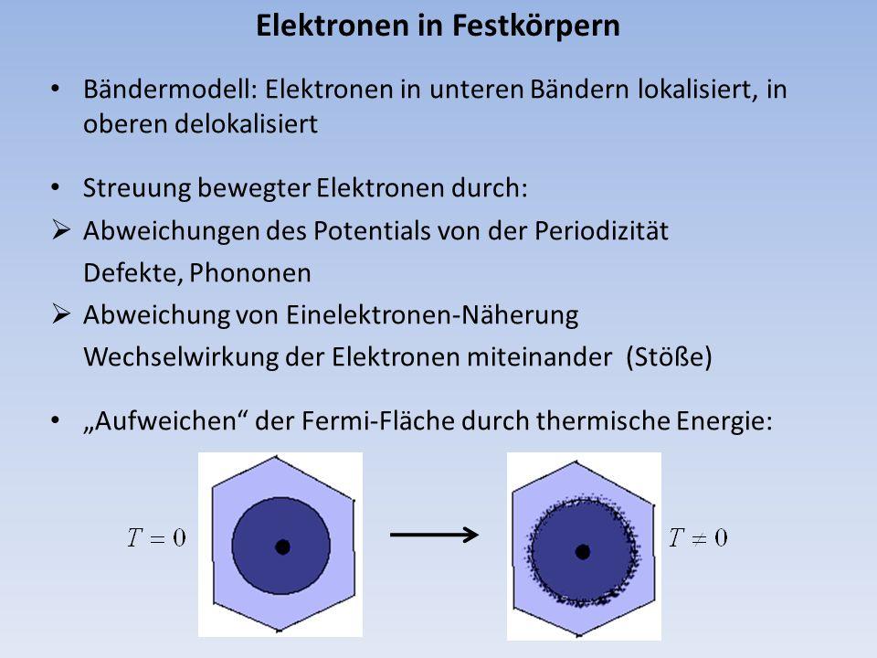 Elektronen in Festkörpern Bändermodell: Elektronen in unteren Bändern lokalisiert, in oberen delokalisiert Streuung bewegter Elektronen durch: Abweich