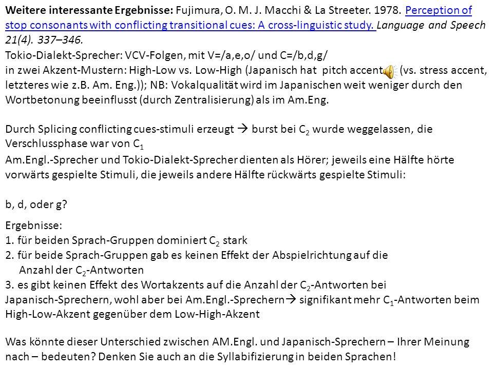 Nebenbemerkung: A-M-Analyse von Assimilation Beispiel: regressive Assimilation von Nasal-Plosiv-Folgen +nasal -nasal C C α place β place C C α place β place Beschreibt, erklärt aber nichts.