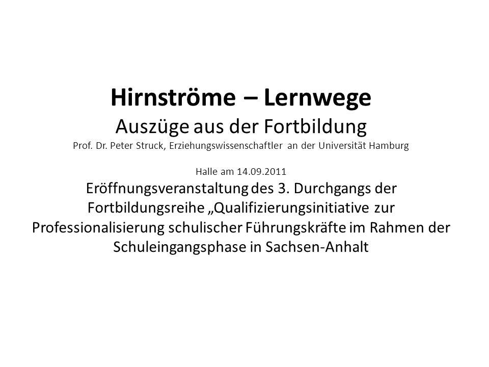Hirnströme – Lernwege Auszüge aus der Fortbildung Prof. Dr. Peter Struck, Erziehungswissenschaftler an der Universität Hamburg Halle am 14.09.2011 Erö