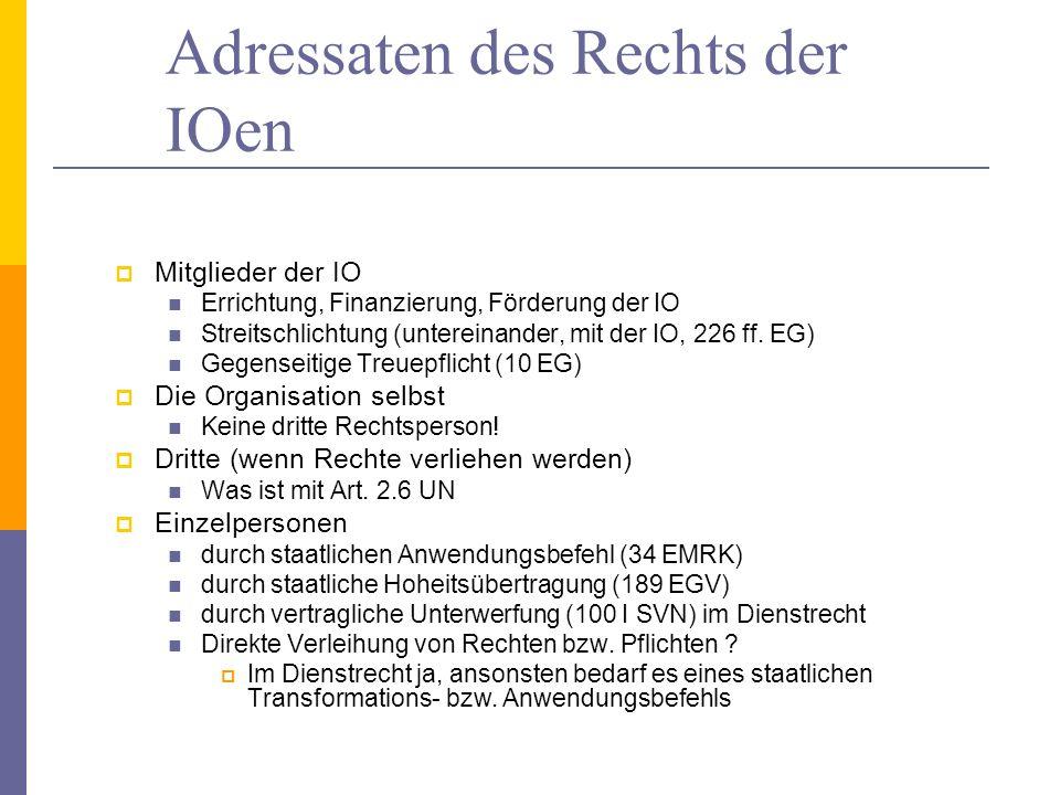 Adressaten des Rechts der IOen Mitglieder der IO Errichtung, Finanzierung, Förderung der IO Streitschlichtung (untereinander, mit der IO, 226 ff. EG)