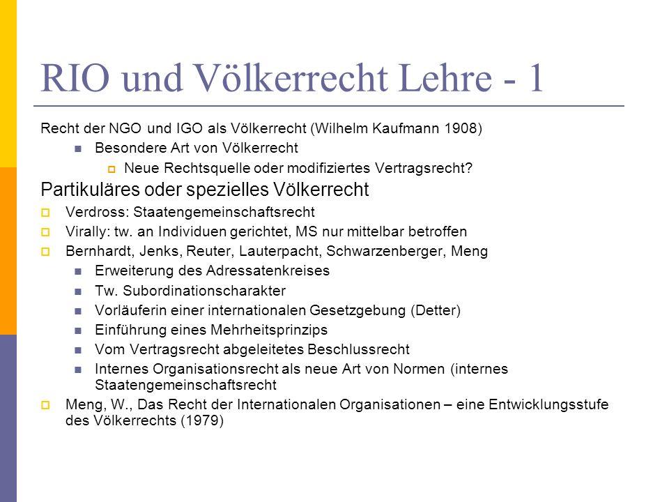 RIO und Völkerrecht Lehre - 1 Recht der NGO und IGO als Völkerrecht (Wilhelm Kaufmann 1908) Besondere Art von Völkerrecht Neue Rechtsquelle oder modifiziertes Vertragsrecht.
