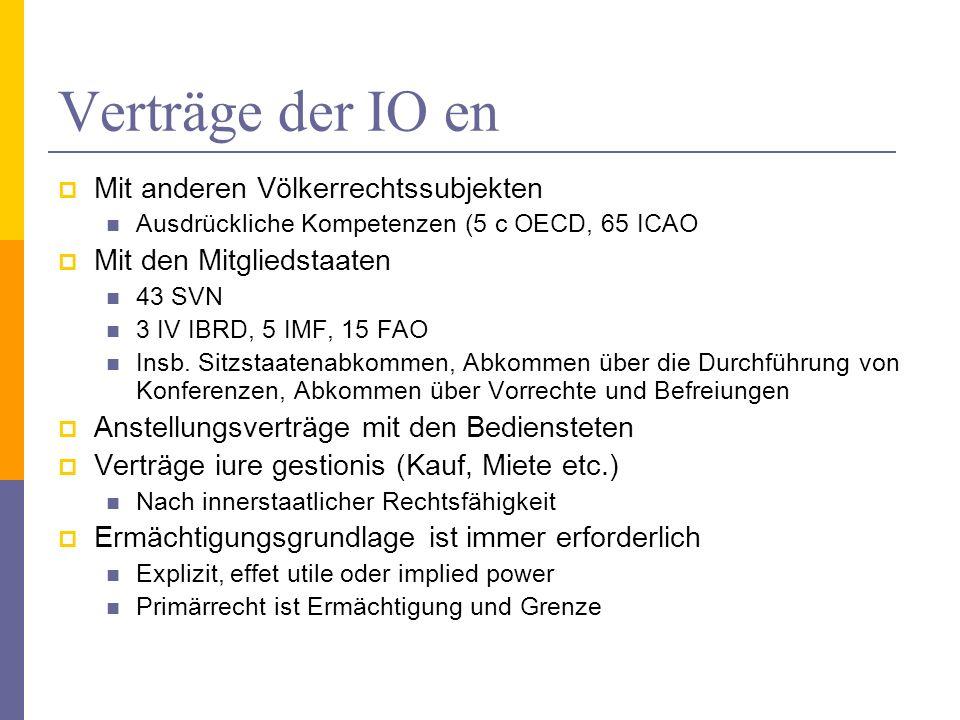 Verträge der IO en Mit anderen Völkerrechtssubjekten Ausdrückliche Kompetenzen (5 c OECD, 65 ICAO Mit den Mitgliedstaaten 43 SVN 3 IV IBRD, 5 IMF, 15 FAO Insb.