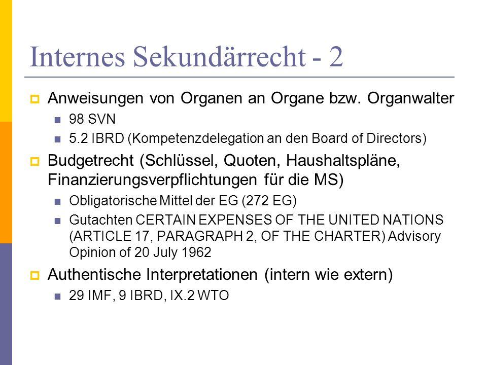 Internes Sekundärrecht - 2 Anweisungen von Organen an Organe bzw. Organwalter 98 SVN 5.2 IBRD (Kompetenzdelegation an den Board of Directors) Budgetre