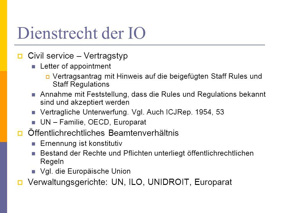 Dienstrecht der IO Civil service – Vertragstyp Letter of appointment Vertragsantrag mit Hinweis auf die beigefügten Staff Rules und Staff Regulations Annahme mit Feststellung, dass die Rules und Regulations bekannt sind und akzeptiert werden Vertragliche Unterwerfung.
