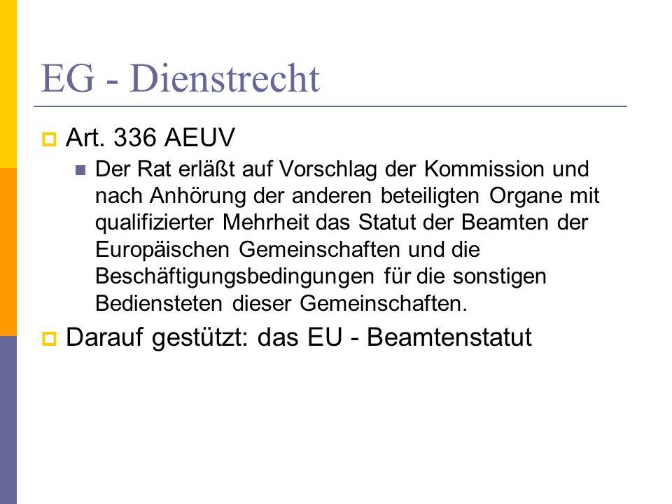 EG - Dienstrecht Art. 336 AEUV Der Rat erläßt auf Vorschlag der Kommission und nach Anhörung der anderen beteiligten Organe mit qualifizierter Mehrhei