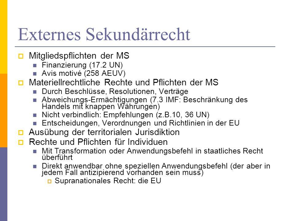 Externes Sekundärrecht Mitgliedspflichten der MS Finanzierung (17.2 UN) Avis motivé (258 AEUV) Materiellrechtliche Rechte und Pflichten der MS Durch Beschlüsse, Resolutionen, Verträge Abweichungs-Ermächtigungen (7.3 IMF: Beschränkung des Handels mit knappen Währungen) Nicht verbindlich: Empfehlungen (z.B.10, 36 UN) Entscheidungen, Verordnungen und Richtlinien in der EU Ausübung der territorialen Jurisdiktion Rechte und Pflichten für Individuen Mit Transformation oder Anwendungsbefehl in staatliches Recht überführt Direkt anwendbar ohne speziellen Anwendungsbefehl (der aber in jedem Fall antizipierend vorhanden sein muss) Supranationales Recht: die EU ©Prof.Dr.Werner Meng, Europa - Institut, University of Saarbruecken, Germany46