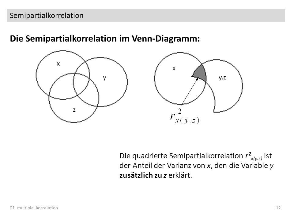 Semipartialkorrelation 01_multiple_korrelation12 Die Semipartialkorrelation im Venn-Diagramm: y x z x y.z Die quadrierte Semipartialkorrelation r² x(y