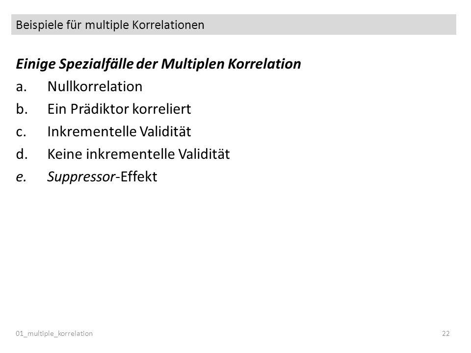 Beispiele für multiple Korrelationen 01_multiple_korrelation22 Einige Spezialfälle der Multiplen Korrelation a.Nullkorrelation b.Ein Prädiktor korreli