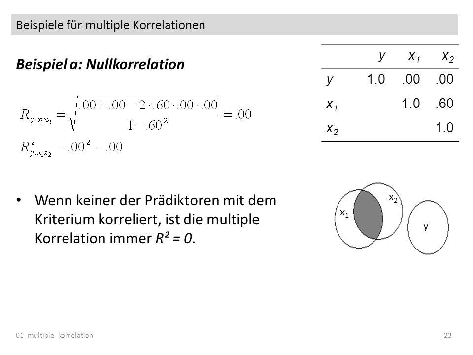 Beispiele für multiple Korrelationen 01_multiple_korrelation23 Beispiel a: Nullkorrelation Wenn keiner der Prädiktoren mit dem Kriterium korreliert, i