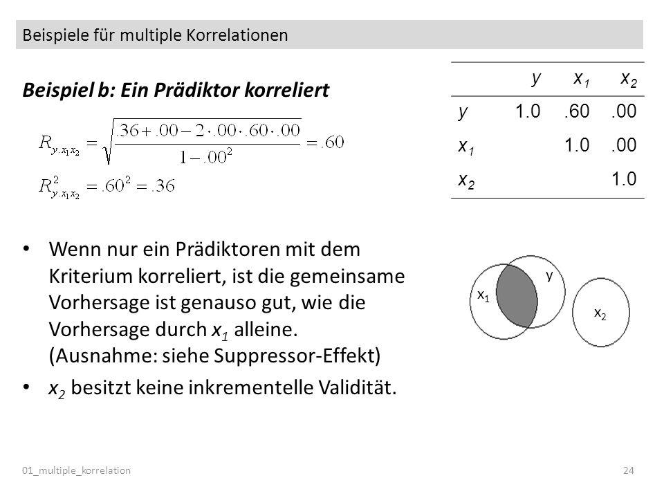 Beispiele für multiple Korrelationen 01_multiple_korrelation24 Beispiel b: Ein Prädiktor korreliert Wenn nur ein Prädiktoren mit dem Kriterium korreli