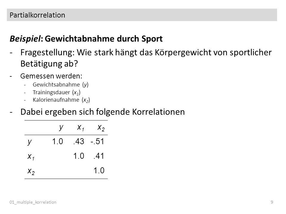 Partialkorrelation 01_multiple_korrelation9 Beispiel: Gewichtabnahme durch Sport -Fragestellung: Wie stark hängt das Körpergewicht von sportlicher Bet