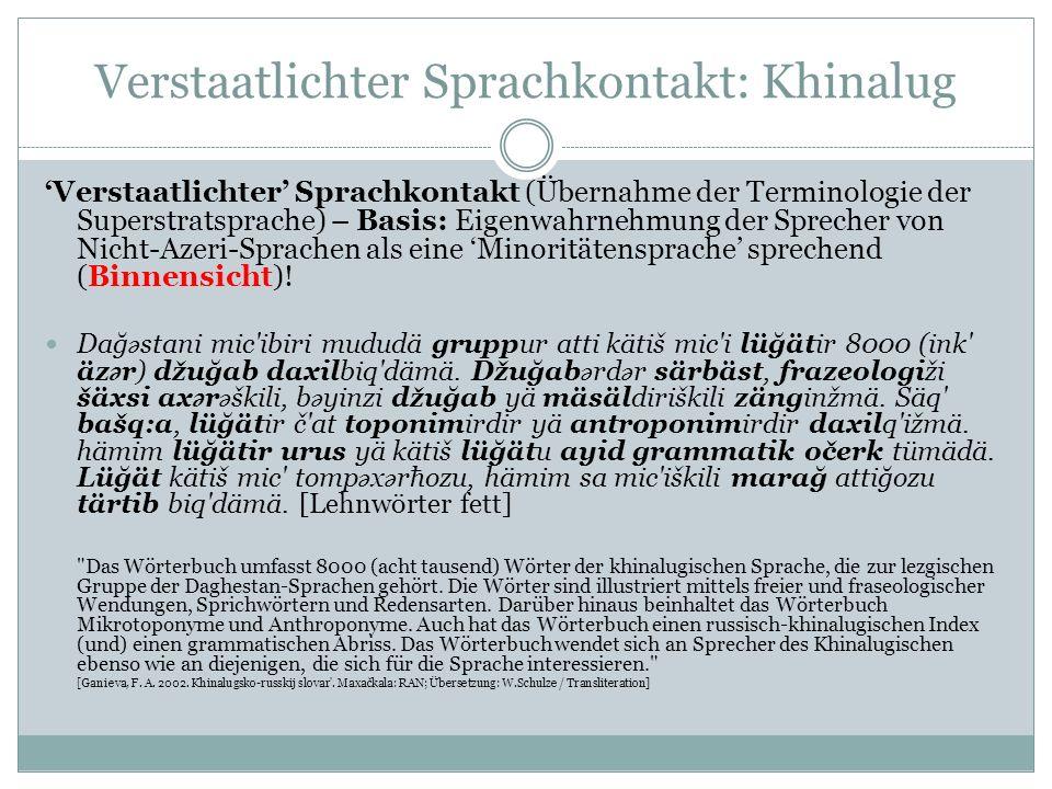 Verstaatlichter Sprachkontakt: Khinalug Verstaatlichter Sprachkontakt (Übernahme der Terminologie der Superstratsprache) – Basis: Eigenwahrnehmung der Sprecher von Nicht-Azeri-Sprachen als eine Minoritätensprache sprechend (Binnensicht).