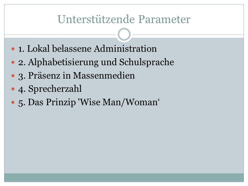 Unterstützende Parameter 1.Lokal belassene Administration 2.