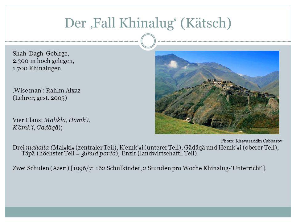 Der Fall Khinalug (Kätsch) Shah-Dagh-Gebirge, 2.300 m hoch gelegen, 1.700 Khinalugen Wise man: Raħim Alx az (Lehrer; gest.