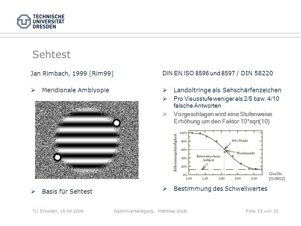 Sehtest Jan Rimbach, 1999 [Rim99] Meridionale Amblyopie Basis für Sehtest DIN EN ISO 8596 und 8597 / DIN 58220 Landoltringe als Sehschärfenzeichen Pro