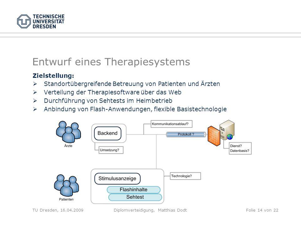 Entwurf eines Therapiesystems Zielstellung: Standortübergreifende Betreuung von Patienten und Ärzten Verteilung der Therapiesoftware über das Web Durc