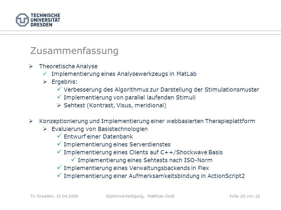 Zusammenfassung Theoretische Analyse Implementierung eines Analysewerkzeugs in MatLab Ergebnis: Verbesserung des Algorithmus zur Darstellung der Stimu