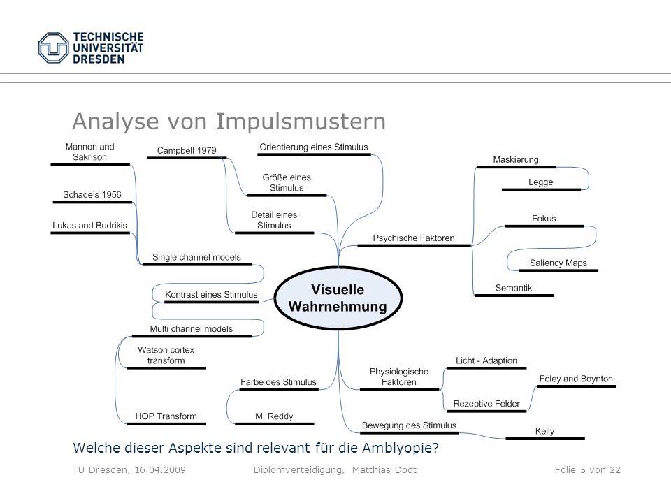 Analyse von Impulsmustern Welche dieser Aspekte sind relevant für die Amblyopie? TU Dresden, 16.04.2009Diplomverteidigung, Matthias DodtFolie 5 von 22