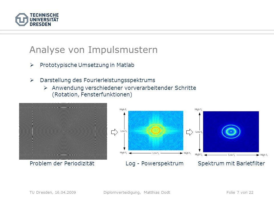 Analyse von Impulsmustern Prototypische Umsetzung in Matlab Darstellung des Fourierleistungsspektrums Anwendung verschiedener vorverarbeitender Schrit