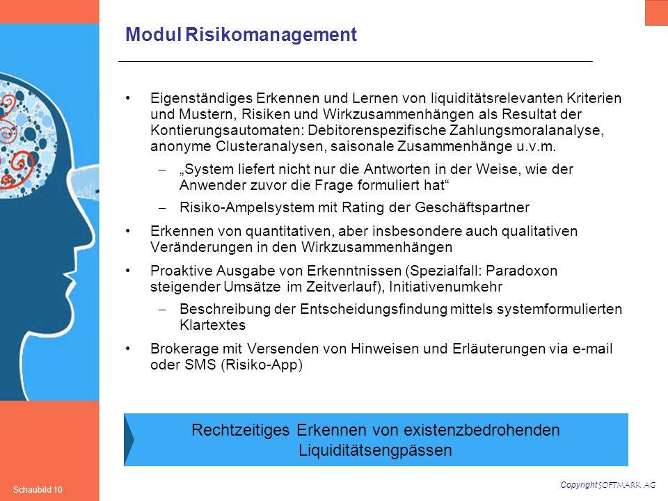 Copyright SOFTMARK AG Schaubild 10 Modul Risikomanagement Eigenständiges Erkennen und Lernen von liquiditätsrelevanten Kriterien und Mustern, Risiken