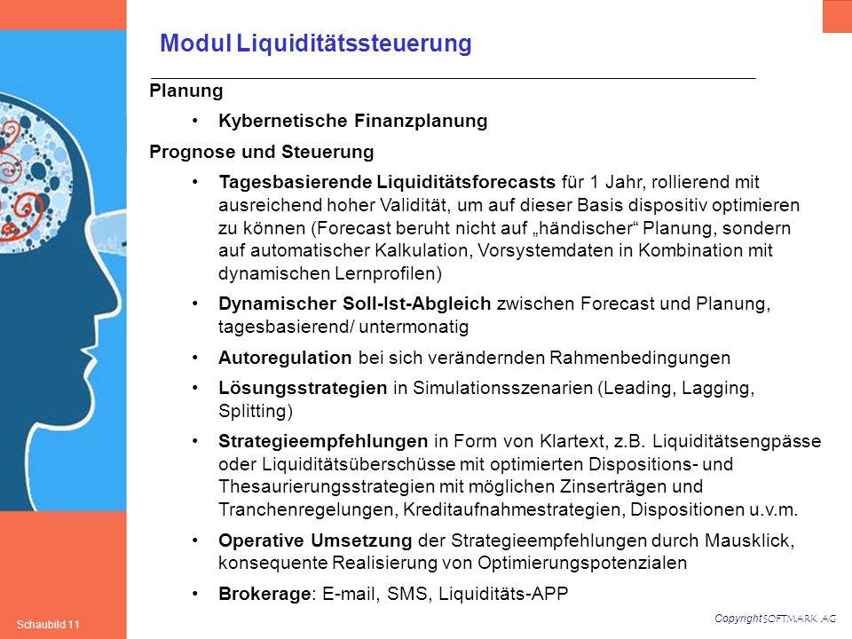 Copyright SOFTMARK AG Schaubild 11 Planung Kybernetische Finanzplanung Prognose und Steuerung Tagesbasierende Liquiditätsforecasts für 1 Jahr, rollier