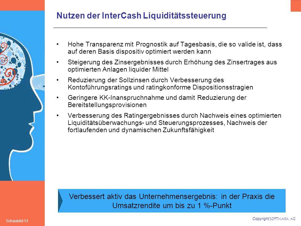 Copyright SOFTMARK AG Schaubild 13 Nutzen der InterCash Liquiditätssteuerung Hohe Transparenz mit Prognostik auf Tagesbasis, die so valide ist, dass a