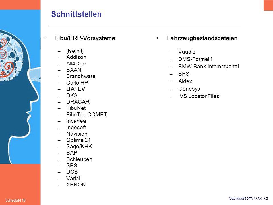 Copyright SOFTMARK AG Schaubild 16 Schnittstellen Fibu/ERP-Vorsysteme – [tse:nit] – Addison – All4One – BAAN – Branchware – Carlo HP – DATEV – DKS – DRACAR – FibuNet – FibuTop COMET – Incadea – Ingosoft – Navision – Optima 21 – Sage/KHK – SAP – Schleupen – SBS – UCS – Varial – XENON Fahrzeugbestandsdateien – Vaudis – DMS-Formel 1 – BMW-Bank-Internetportal – SPS – Aldex – Genesys – IVS Locator Files
