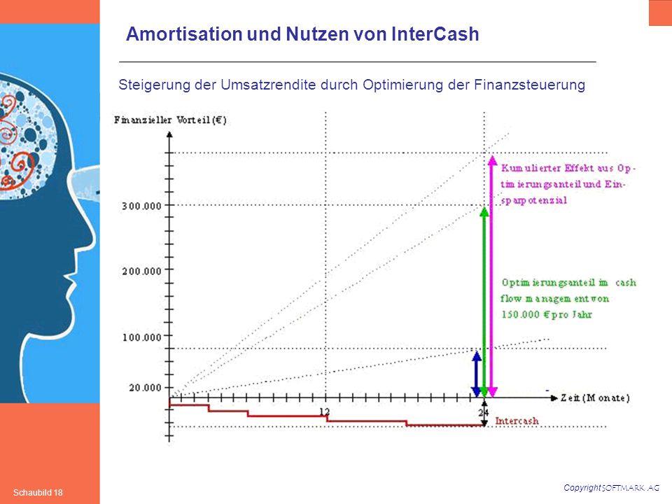 Copyright SOFTMARK AG Schaubild 18 Steigerung der Umsatzrendite durch Optimierung der Finanzsteuerung Amortisation und Nutzen von InterCash