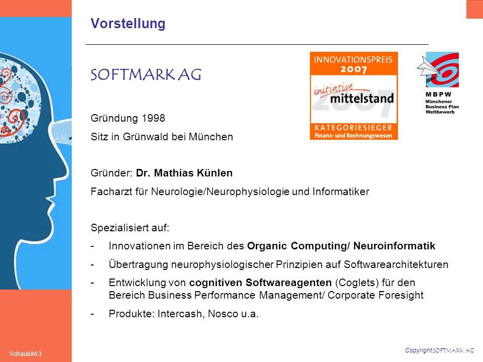 Copyright SOFTMARK AG Schaubild 3 Vorstellung SOFTMARK AG Gründung 1998 Sitz in Grünwald bei München Gründer: Dr. Mathias Künlen Facharzt für Neurolog