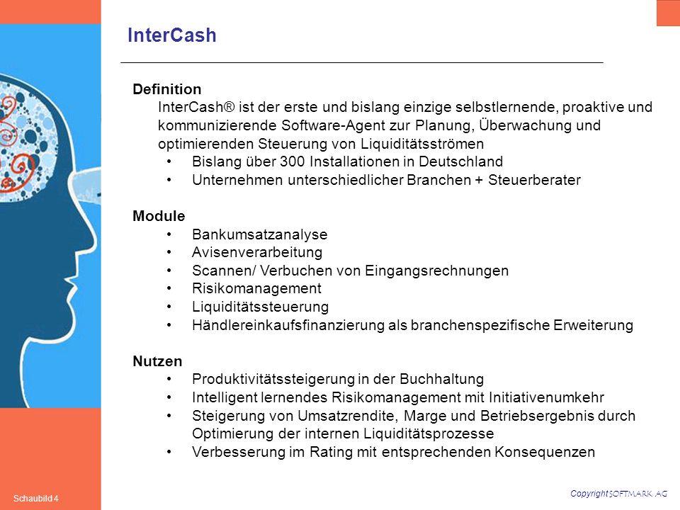 Copyright SOFTMARK AG Schaubild 4 InterCash Definition InterCash® ist der erste und bislang einzige selbstlernende, proaktive und kommunizierende Software-Agent zur Planung, Überwachung und optimierenden Steuerung von Liquiditätsströmen Bislang über 300 Installationen in Deutschland Unternehmen unterschiedlicher Branchen + Steuerberater Module Bankumsatzanalyse Avisenverarbeitung Scannen/ Verbuchen von Eingangsrechnungen Risikomanagement Liquiditätssteuerung Händlereinkaufsfinanzierung als branchenspezifische Erweiterung Nutzen Produktivitätssteigerung in der Buchhaltung Intelligent lernendes Risikomanagement mit Initiativenumkehr Steigerung von Umsatzrendite, Marge und Betriebsergebnis durch Optimierung der internen Liquiditätsprozesse Verbesserung im Rating mit entsprechenden Konsequenzen