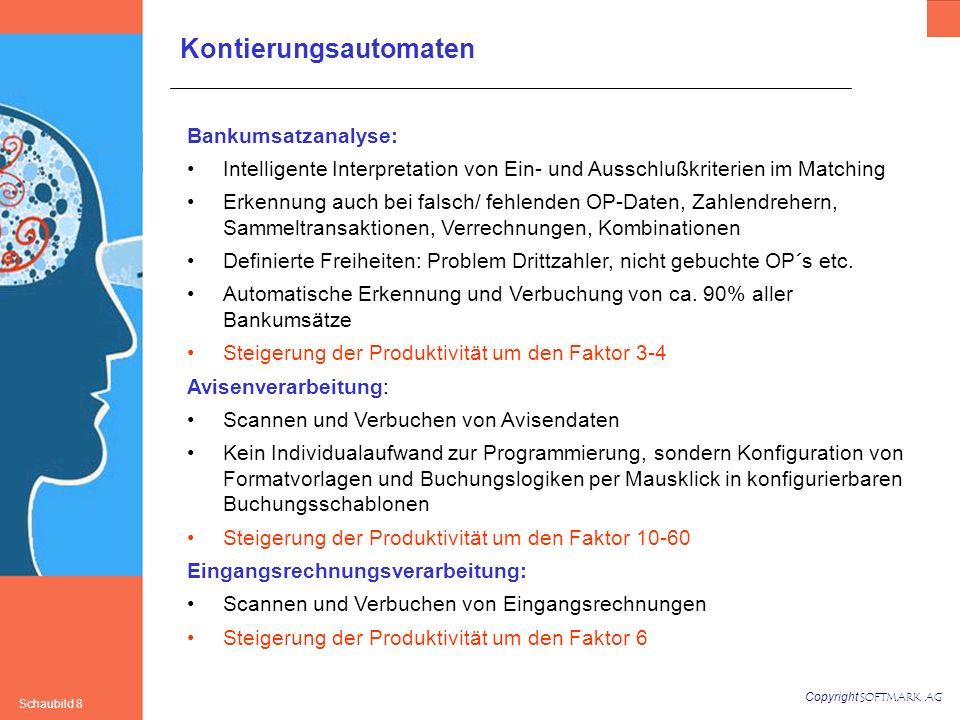 Copyright SOFTMARK AG Schaubild 8 Bankumsatzanalyse: Intelligente Interpretation von Ein- und Ausschlußkriterien im Matching Erkennung auch bei falsch/ fehlenden OP-Daten, Zahlendrehern, Sammeltransaktionen, Verrechnungen, Kombinationen Definierte Freiheiten: Problem Drittzahler, nicht gebuchte OP´s etc.