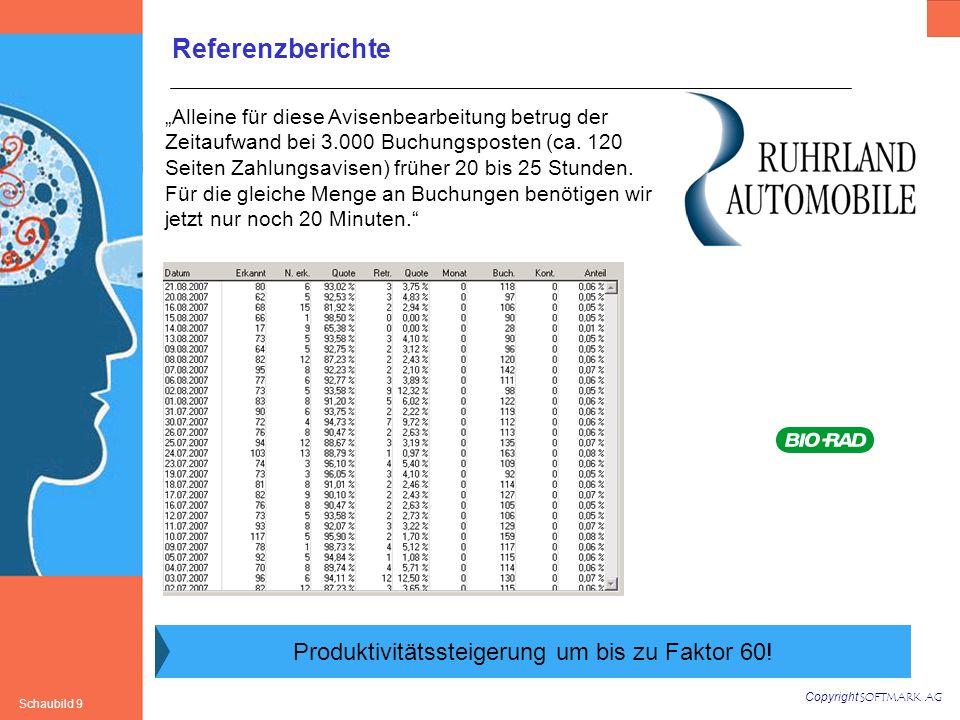 Copyright SOFTMARK AG Schaubild 9 Referenzberichte Alleine für diese Avisenbearbeitung betrug der Zeitaufwand bei 3.000 Buchungsposten (ca. 120 Seiten
